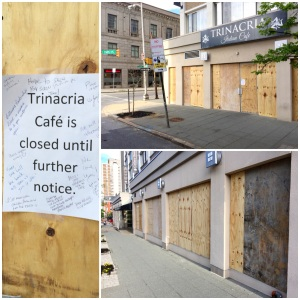 Trinacria had all its windows broken. They've since reopened for business.