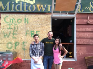 Staff of Midtown BBQ & Brew served up free sandwiches on Wednesday. The owner made headlines with his stance against rioters.